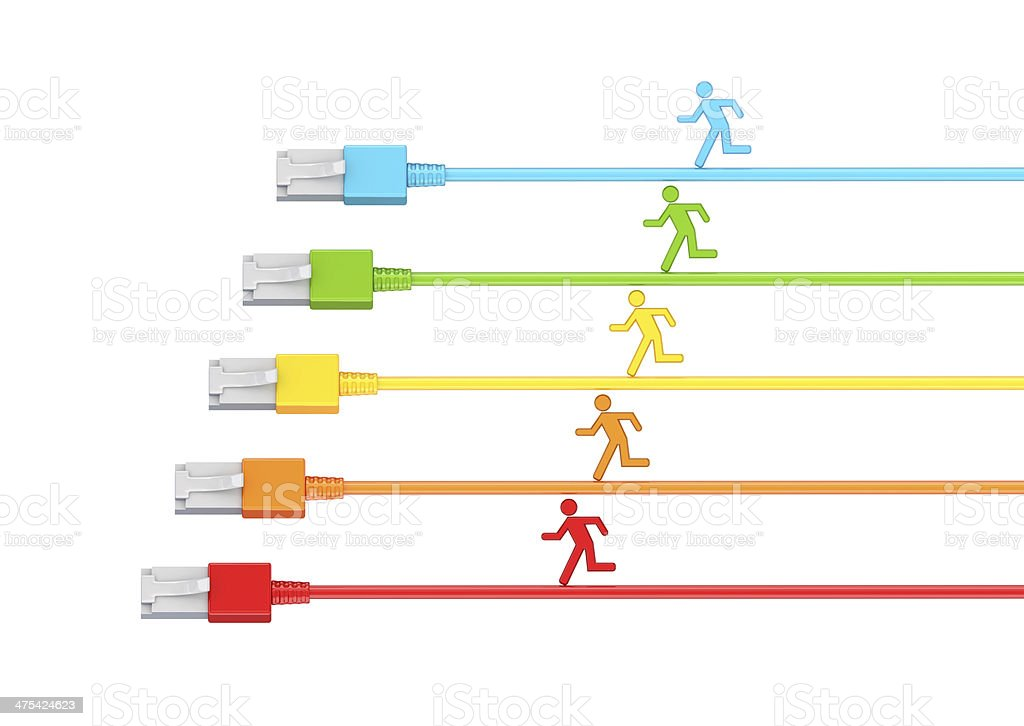 Colorful 3d small people running on a patchcords. royalty-free stock photo