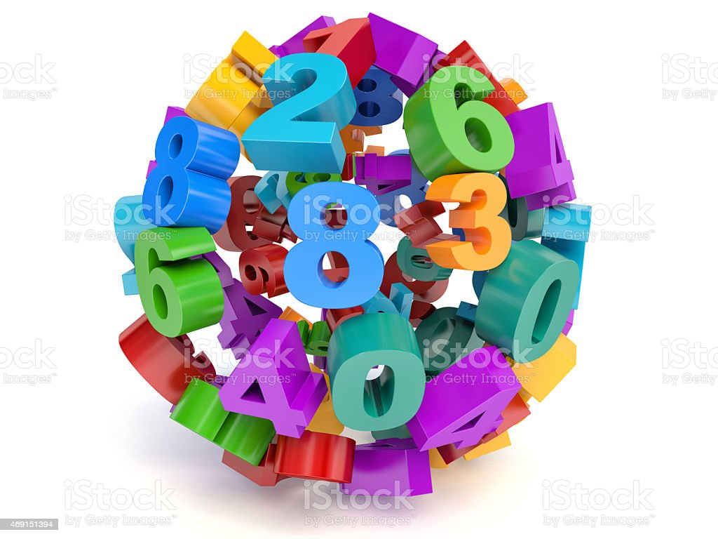 Colorful 3d sphere of numbers stock photo