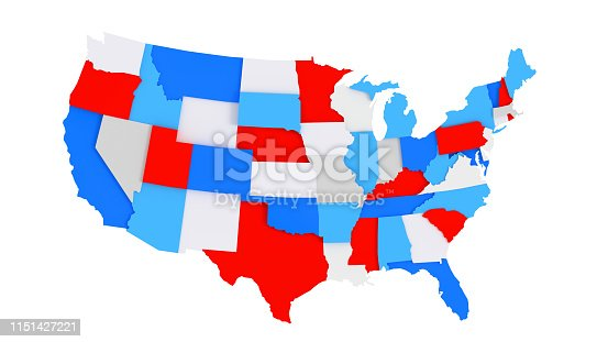 1056103150istockphoto Colorful 3D US States map 1151427221