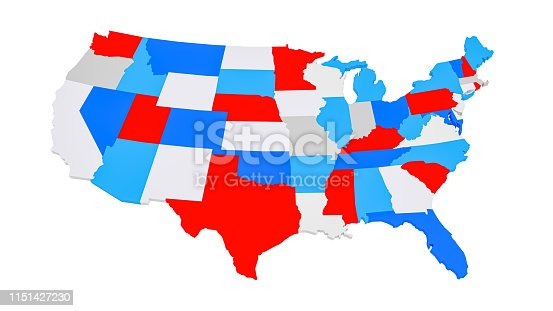 1056103150istockphoto Colorful 3D US States map 1151427230