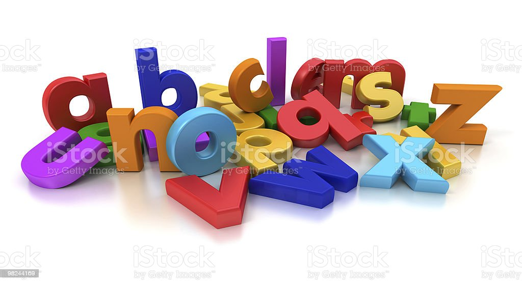 Colorful 3D vector lowercase alphabet royalty-free stock photo