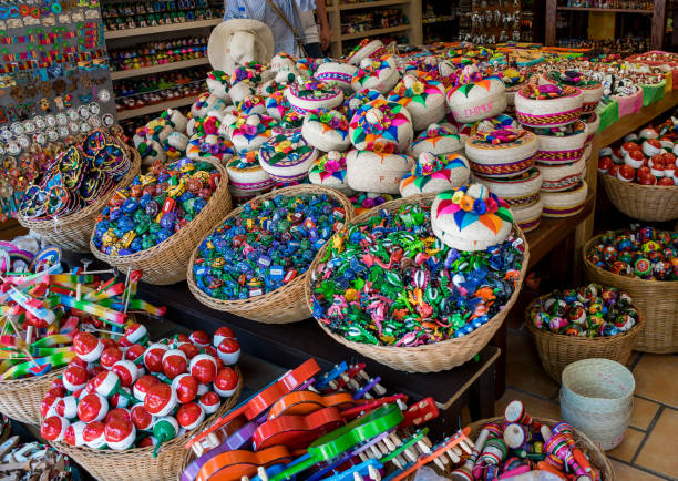 colorful 5th avenue souvenir shop in playa del carmen, mexico - playa del carmen stock photos and pictures