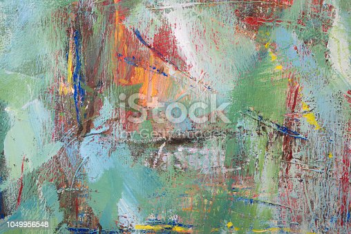 istock Colorful Abstract acrylic painting close-up 1049956548