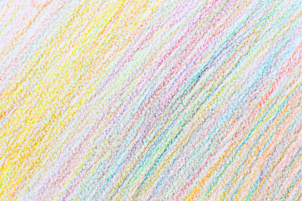 Colorful abstract background of pencil crayons by doodle hand writing stock photo