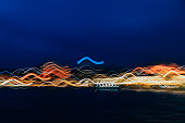 Abstract background of colourful night city light. Long exposure shot.