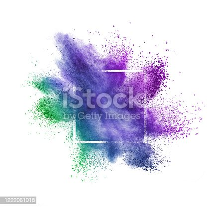 874001974 istock photo Colorful abstract dust splash on a white background. 1222061018