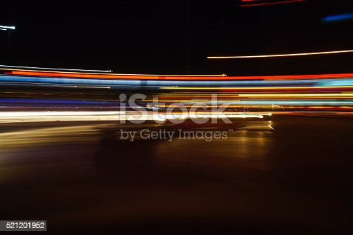 Colorful abstract light trails or tail lights at night time.