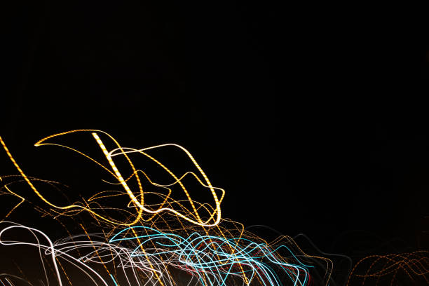 Colorful Abstract Long Exposure Light Art with Black Background stock photo