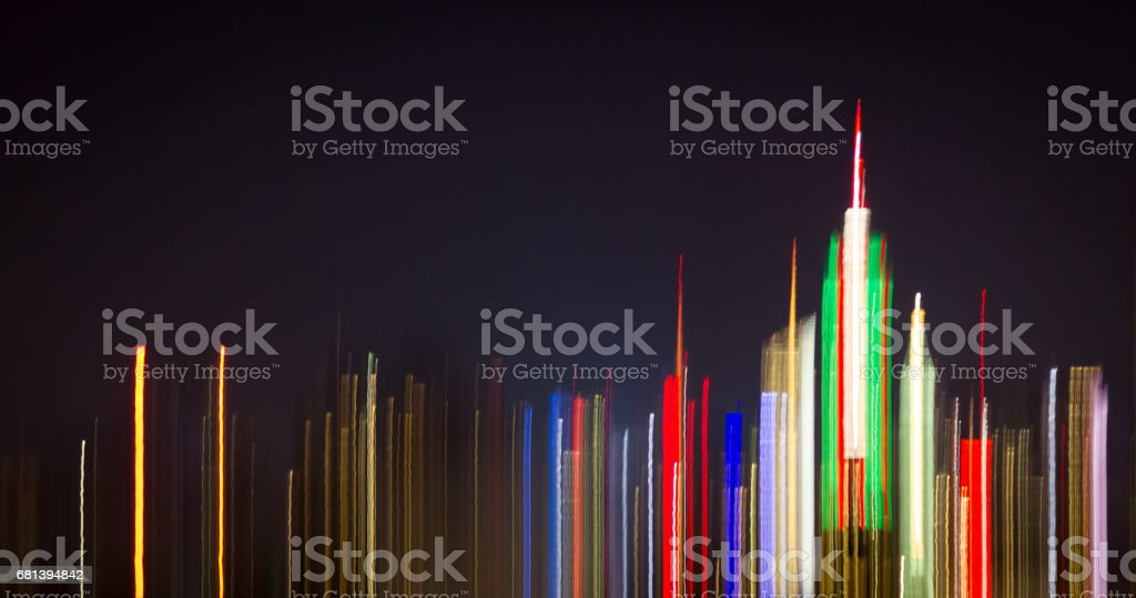 Colorful abstract night lights of the New York City downtown skyline skyscrapers stock photo