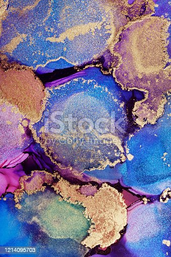 1217742482 istock photo Colorful abstract painting background. Highly-textured oil paint. High quality details. Alcohol ink modern abstract painting, modern contemporary art. 1214095703