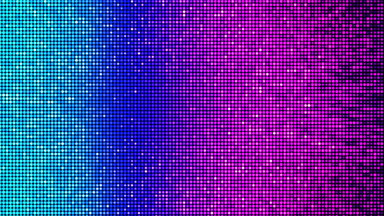 Digitally generated image, showing a LED panel-like virtual light architecture in beautiful cyan, blue, magenta, violet, red, and orange colors - e.g. as party, disco and/or celebration background