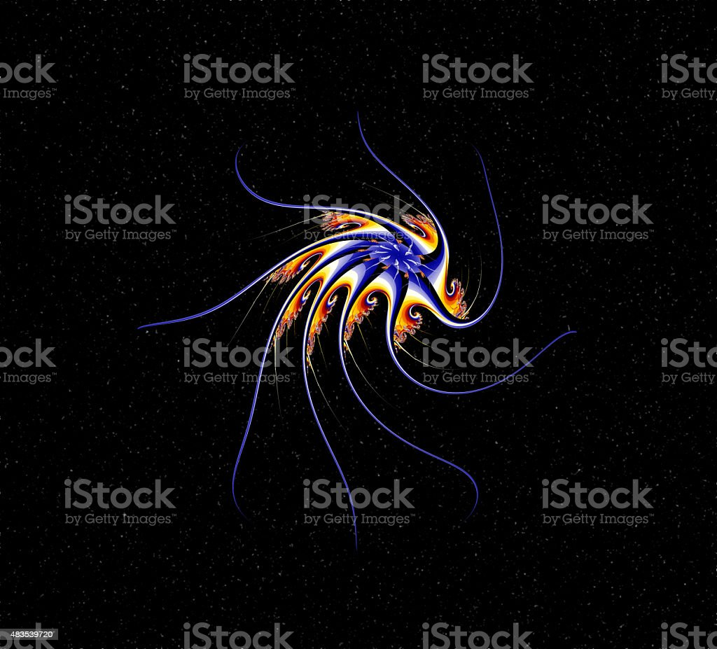 Colorful abstract space octopus digital fractal art. stock photo