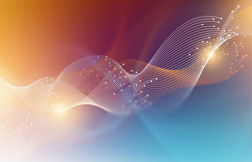 Colorful Abstract Technology Wave Graphic Background.