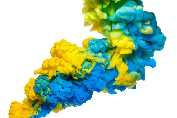 Colorful acrylic ink in water isolated on white. Abstract background. Color explosion stock photo