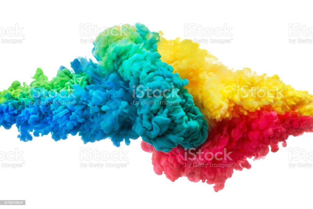Colorido acrílico tinta en agua, aislado en blanco. Resumen de antecedentes. Explosión de color - foto de stock