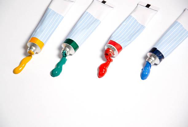 colorful acrylic paints stock photo