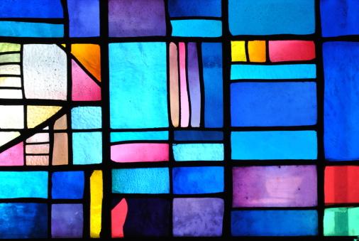 Colorful acrylic sample on a window