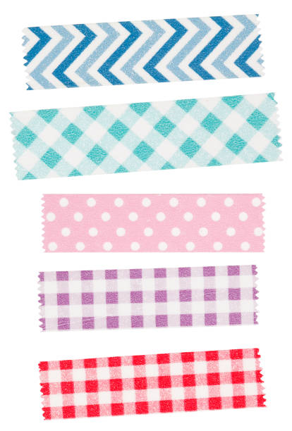 colorful adhesive washi tape - adhesive tape stock photos and pictures