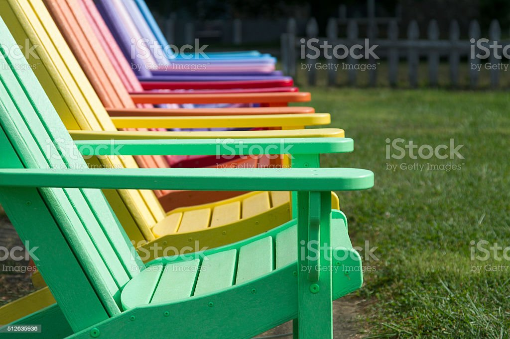 Colorful Adirondack Chairs stock photo