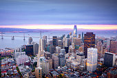 Colorful aerial panorama of San Francisco financial district and SOMA at sunrise. California, USA