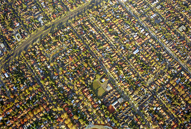 colorful aerial view of suburbs of melbourne, australia - urban sprawl stock photos and pictures