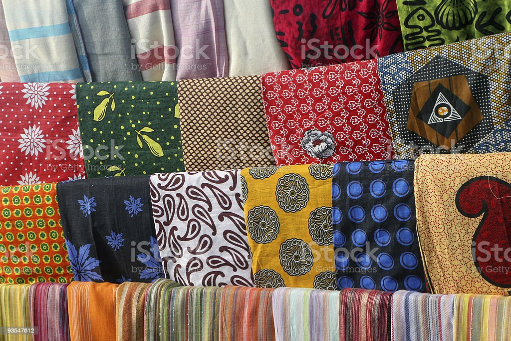 Colorful African Fabrics stock photo