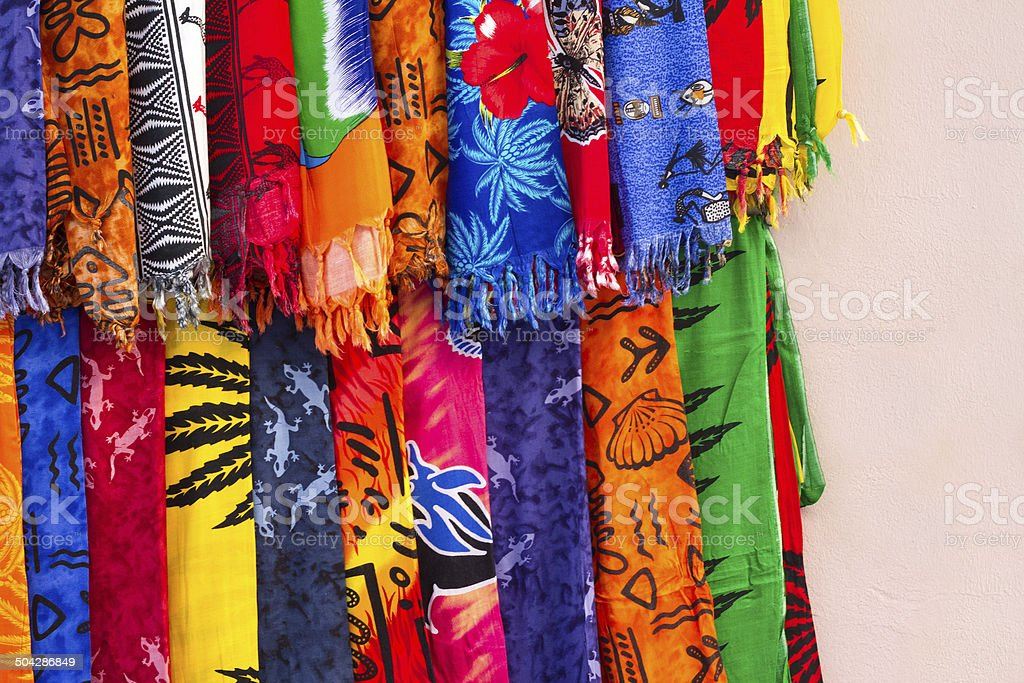 Colorful African Sarongs Outside a Shop in Zanzibar stock photo