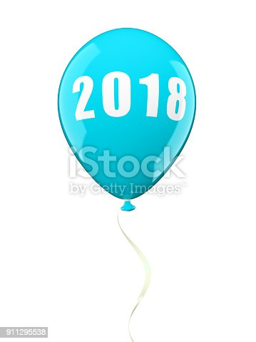 istock Colorful air ballons 2018 3D illustration 911295538