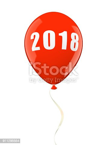 istock Colorful air ballons 2018 3D illustration 911295554