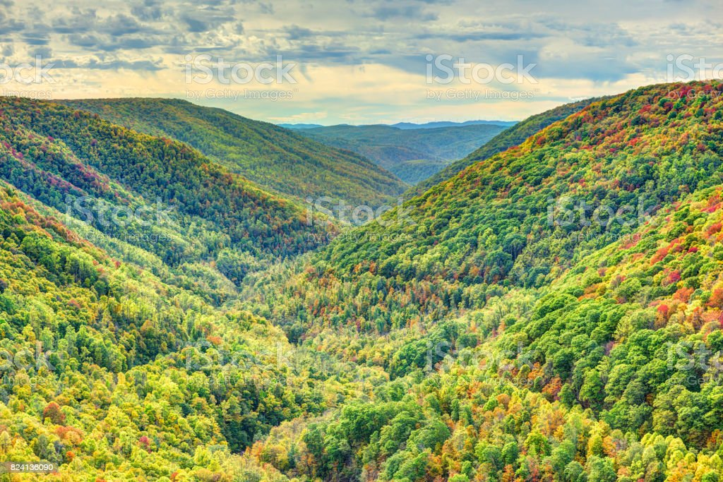 Colorful Allegheny mountains in autumn with foliage at Lindy Point overlook in West Virginia, USA stock photo