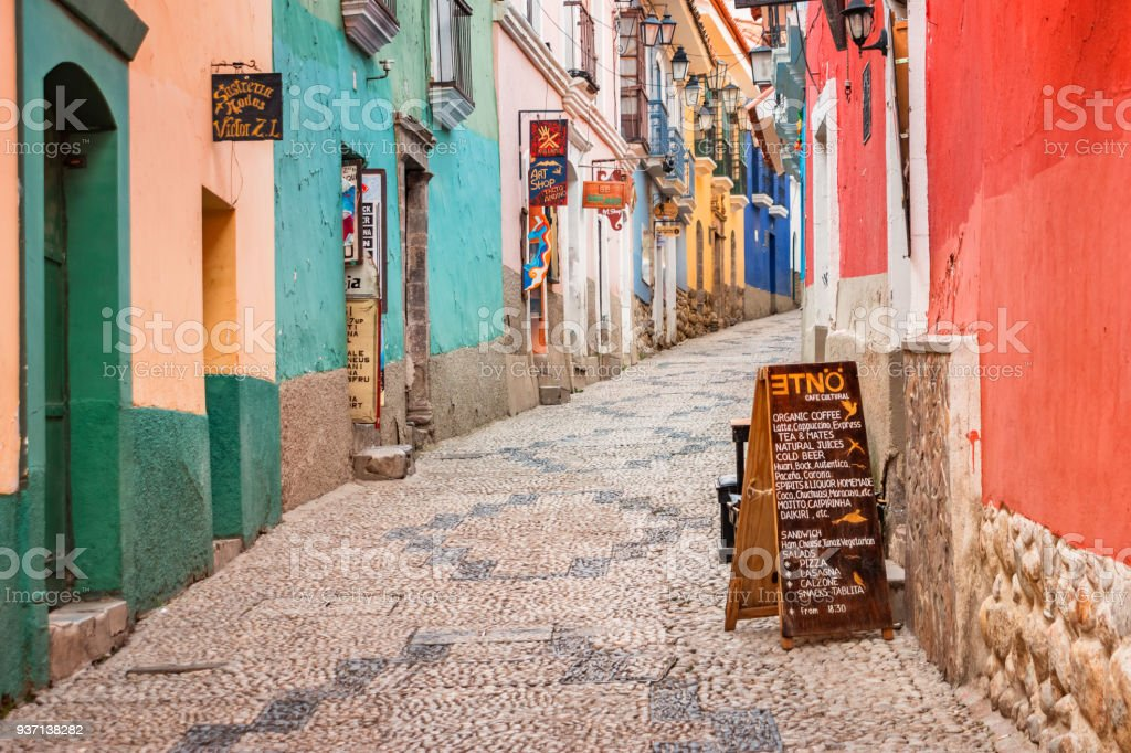 Colorful alley in old town La Paz Bolivia stock photo