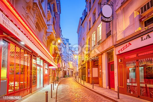 istock Colorful alley with stores in Latin Quarter downtown Paris France 1224862682
