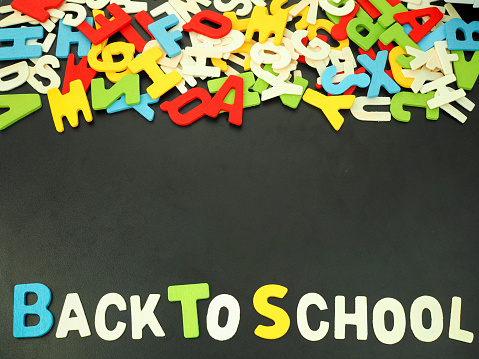 istock Colorful alphabet back to school on wood background 610752122