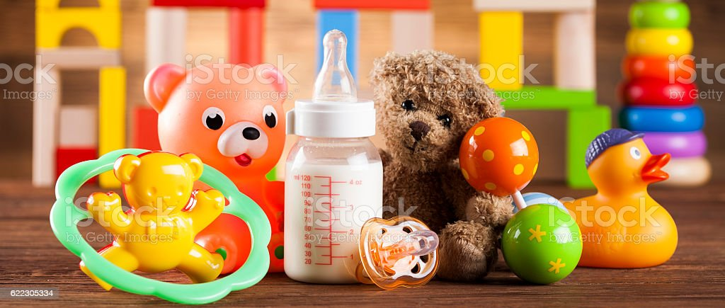 Colorful alphabet blocks, baby toy stock photo