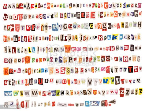 Colorful Alphabet – torn out from Newspapers and Magazines. Perfect for Threatening Letters.