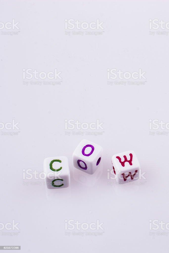 Colorful alphabet letters form the word COW zbiór zdjęć royalty-free