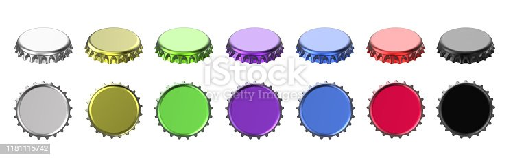 istock Colorful aluminum bottle cap top, side view on white background 1181115742