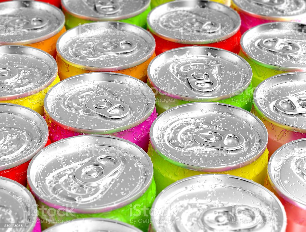 Colorful aluminum cans. stock photo
