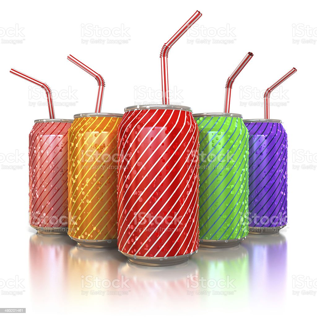 colorful aluminum cans with straws stock photo