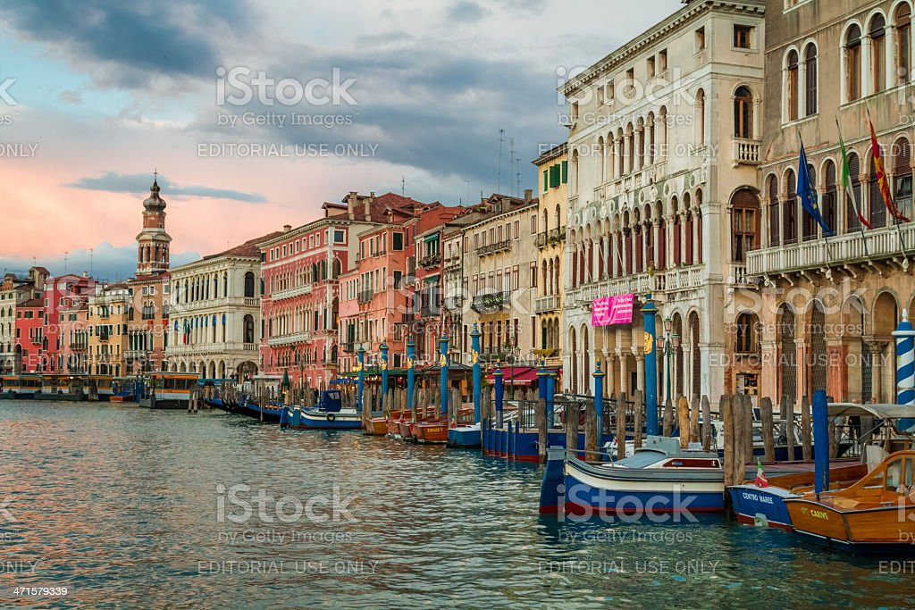 Colorful ancient buildings on Grand Canal in Venice royalty-free stock photo