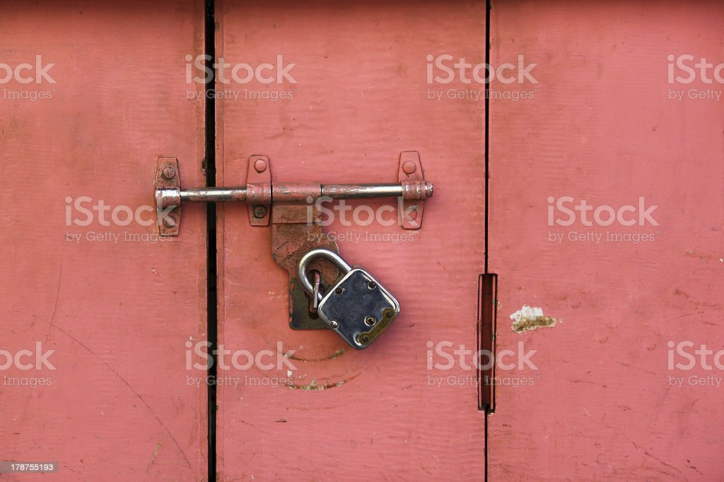 Colorful ancient locked door royalty-free stock photo
