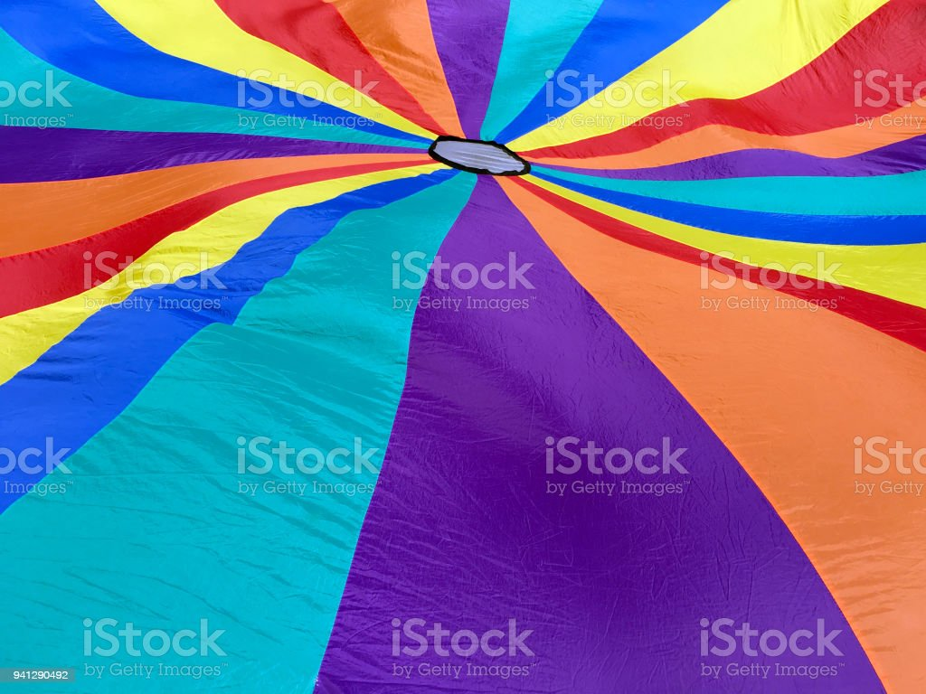 Colorful and bright parachute background stock photo