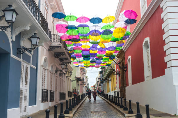 Colorful and Busy Streets of Old San Juan stock photo