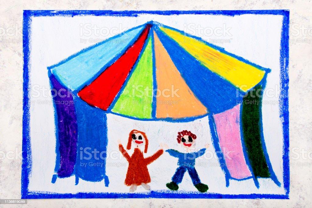 Circus tent and happy children