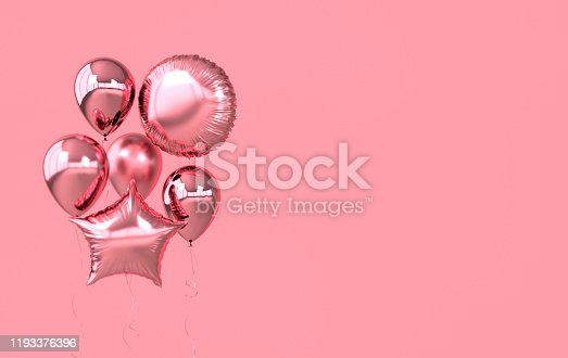 istock Colorful and golden foil balloons isolated on pink background. 3d render element for birthday party, Valentine`s day, presentation. Sphere and star shape 1193376396