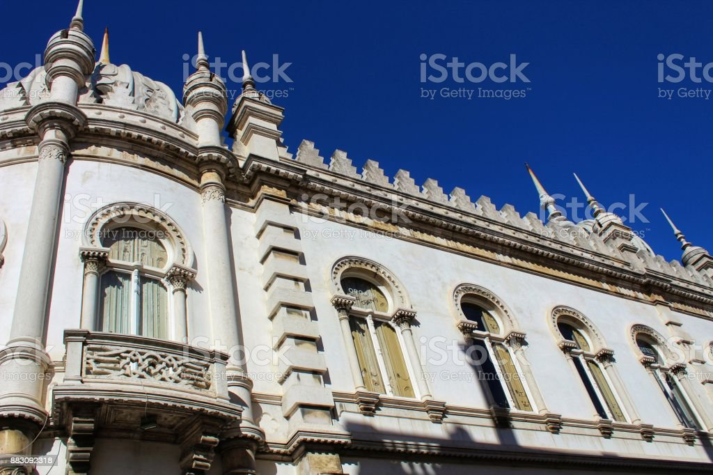 Colorful and majestic old houses in Lisbon stock photo