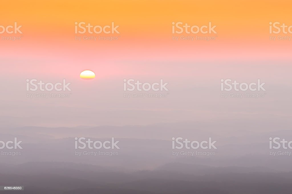 Colorful and smoky Carolina sunrise stock photo