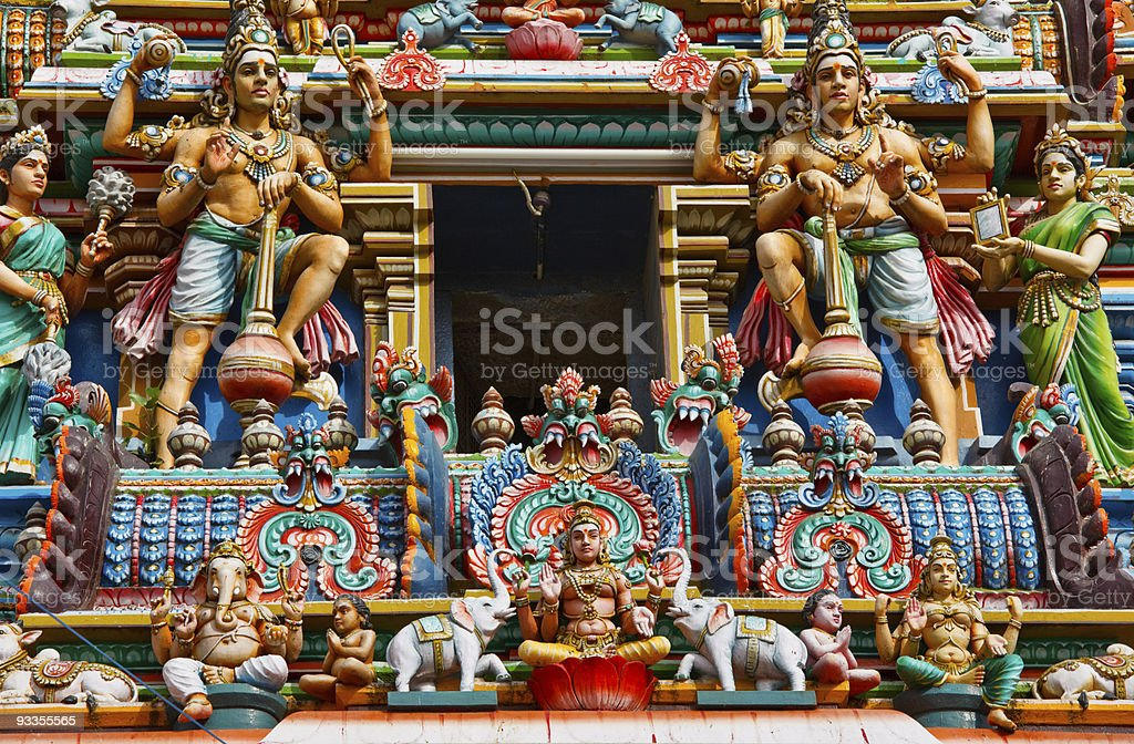 Colorful and vivid Gopuram tower of Hindu Temple stock photo