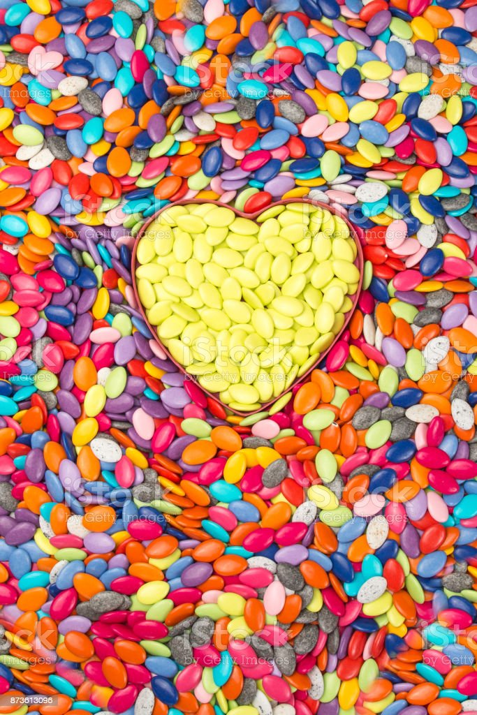 Colorful and yellow Hearts background. Sweetheart Candy. Valentines Day stock photo