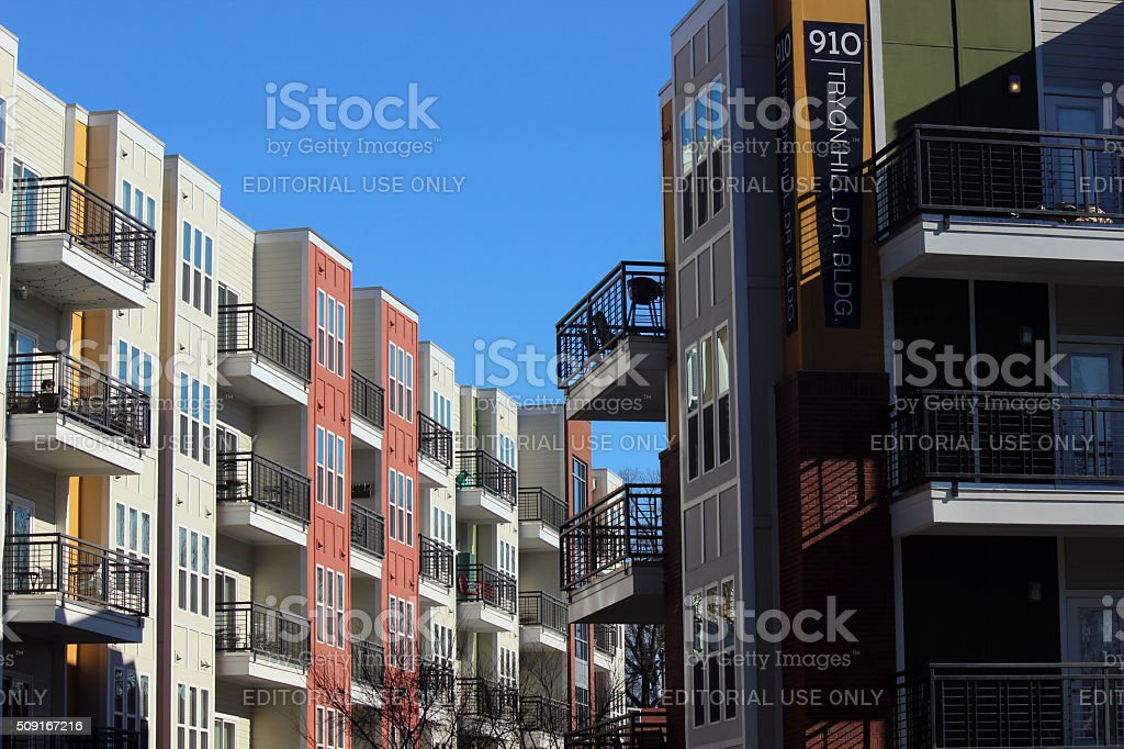 Colorful Apartment Building in Raleigh, North Carolina stock photo